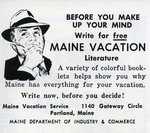 Write for free MAINE VACATION Literature by Maine Development Commission and Maine Publicity Bureau