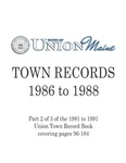 Union Maine Town Records 1986-1988