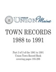 Union Maine Town Records 1988-1991