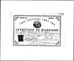 Intention of Marriage for James Jacob and Louisa M. Woodman by W B. Bucknam