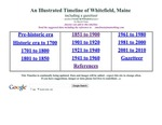 Whitefield, Maine - a TIMELINE